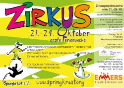 Flyer zur Herbstferien Zirkuswoche im Emmers